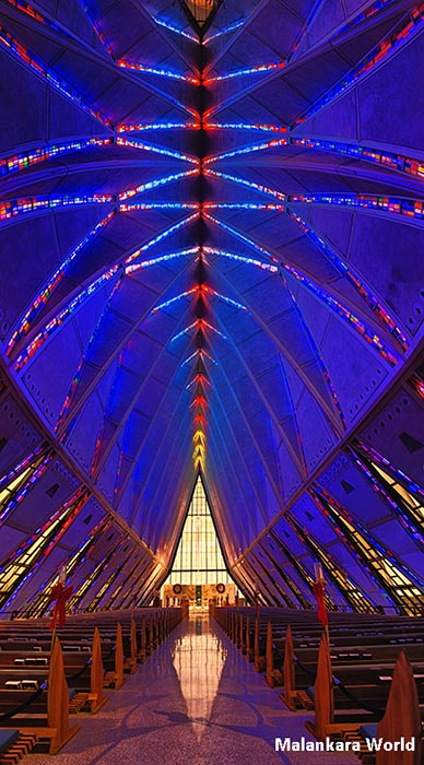 US Air Force Academy Cadet Chapel, Colorado Springs, CO. Photo and copyright by Capt. Dr. Madhu Jacob Mathew