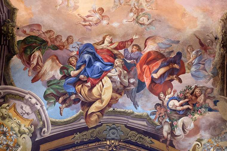 Assumption of the Virgin Mary, fresco painting in San Petronio Basilica in Bologna, Italy. Credit: Zvonimir Atletic / Shutterstock.