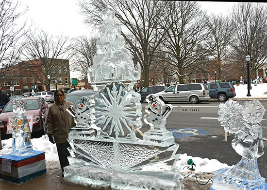 Ice Sculpture in Medina Ohio, part of Ice Fest Photo by Dr. Jacob Mathew, Malankara World