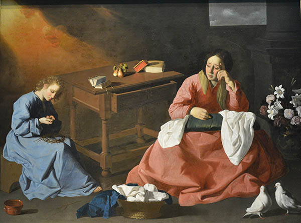 Christ and the Virgin in the House of Nazareth (circa 1640) by Francisco de Zurbaran (1598-1664). Cleveland Museum of Art.