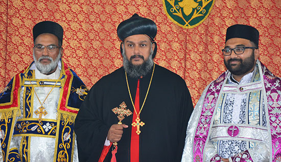 Newly ordained Anish Achen with Theethose Thirumeni and Thelappillil Cor Episcopa