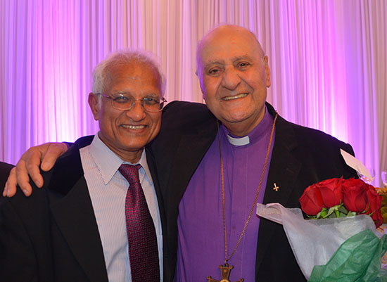 Very Rev. Fr. Edward Hanna, Retiring Vicar of Sts. Peter and Paul Syriac Orthodox Church, Southfield, MI  with Dr. Jacob Mathew, Chief Editor of Malankara World, at Fr. Hanna's Retirement Banquet on October 6, 2017.