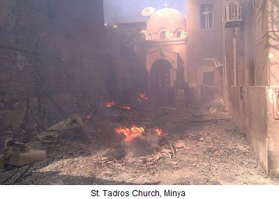 Torched Church in Minya, Egypt