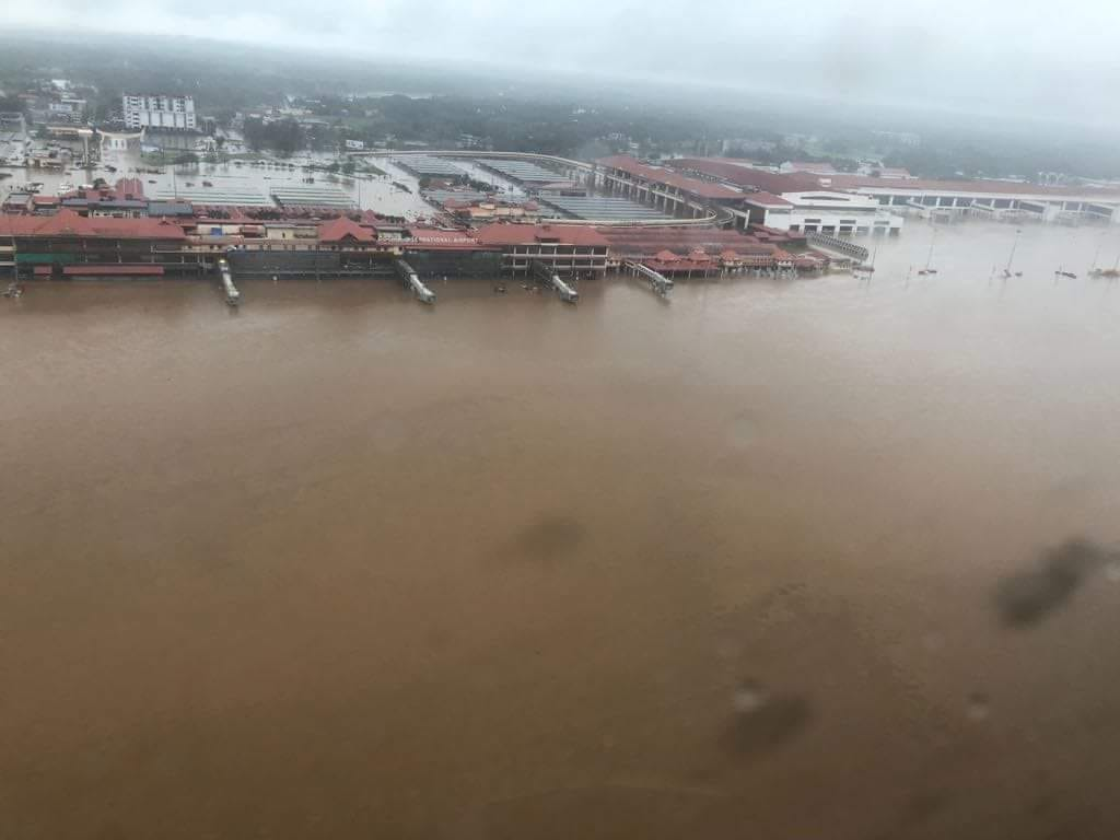 Kochi airport was flooded and was closed due to the Flood disaster in Kerala