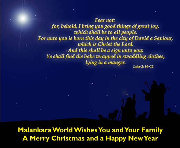 Wish You a Merry Christmas and Happy New Year from Malankara World