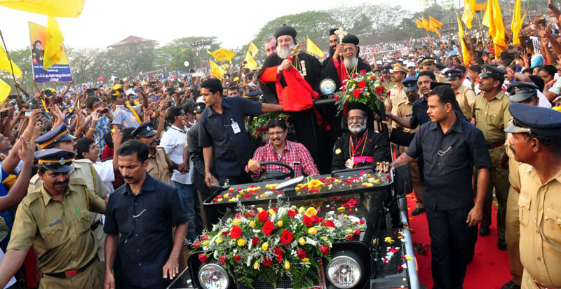 HH Patriarch arrives at Zakka Nagar, Kottayam on Feb 8 2015