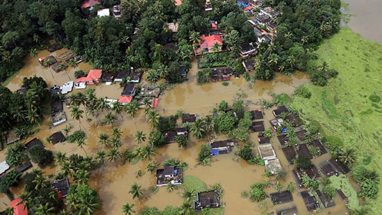 Flooding in Kerala-aerial view courtesy of BBC