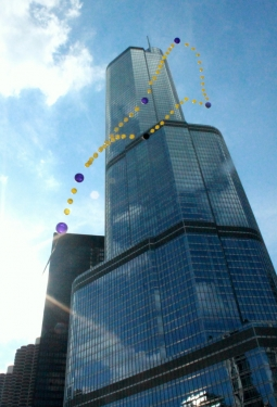 floating rosary in Chicago near Trump Tower