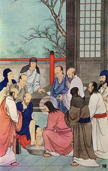 Jesus washing the feet of disciples - Chinese painting