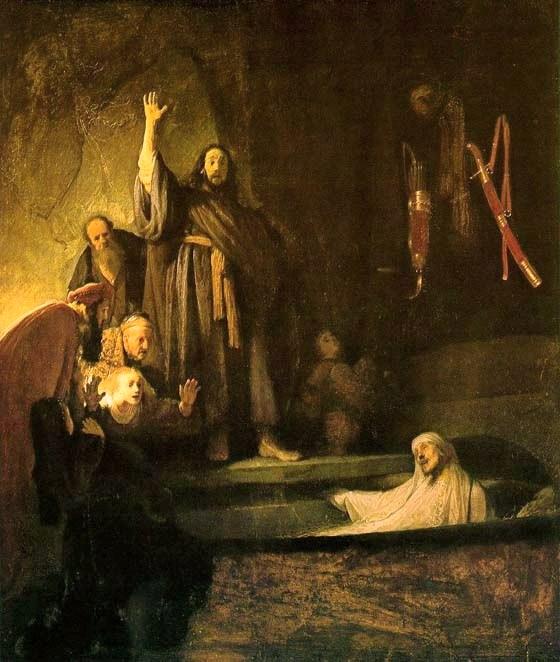 Jesus Raising Lazarus - by Rembrandt