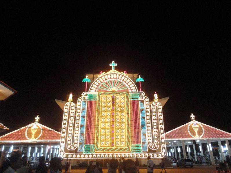 Illumination in St Mary's Jacobite Syrian Orthodox Cathedral Manarcad on the feast of St. Mary in Eight day lent.