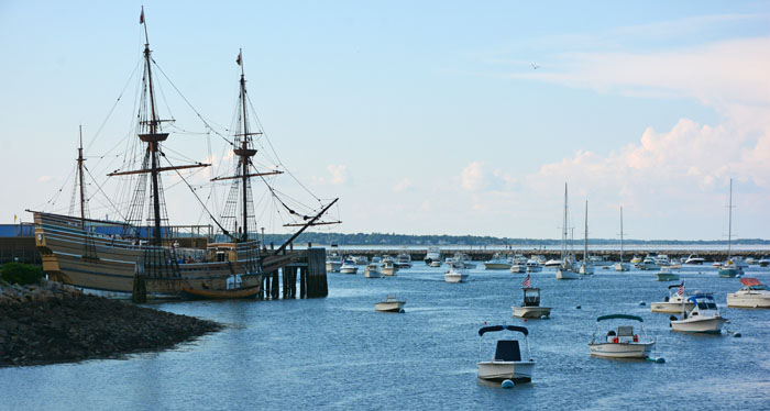 Mayflower and the Plymouth Beach viewed from the Plymouth Rock. Photograph by Dr. Jacob Mathew, Malankara World