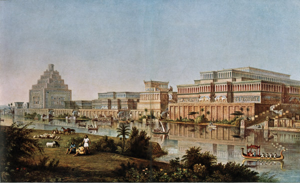 Old watercolr painting of Nineveh, Iraq