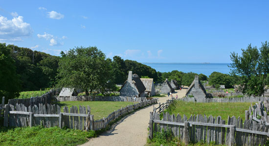 Pilgrim Colony in Plymouth Plantation as viewd from the Church