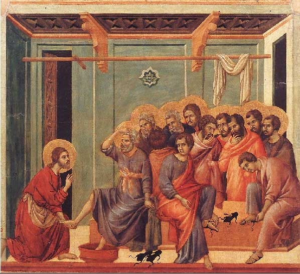 Jesus Washing the Feet of Disciples by Duccio di Buoninsegna (1308-1311)