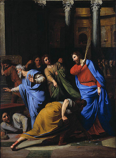 Jesus expelling moneychangers in Temple