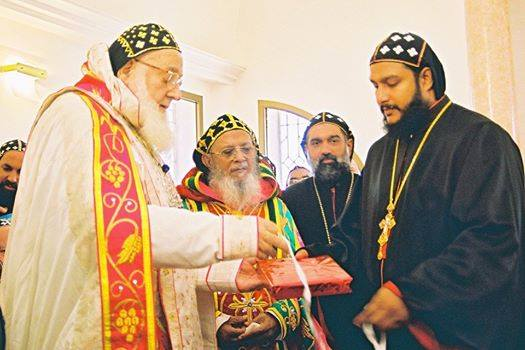 Moran Mor Zakka I with HB Thomas I, HG Joseph Mor Gregorios and HE Yeldho Mor Theethose